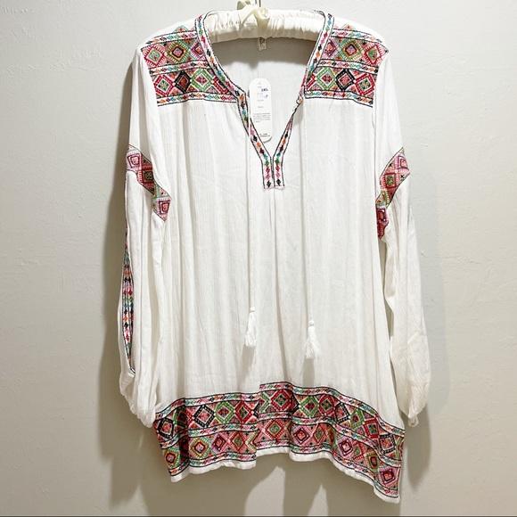 SHORELINE Plus Size Tunic Ivory Embroidered